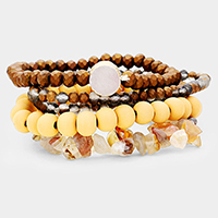 5PCS Multi Wood Genuine Druzy Stretch Bracelets