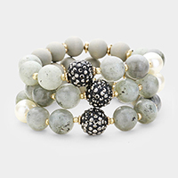 3PCS Multi Strand Pearl Natural Stone Wood Stretch Bracelets