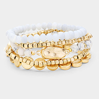 5PCS Multi Strand Round Disc Natural Stone Bead Stretch Bracelets