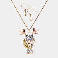 Three Tone Rudolph Metal Pendant Necklace