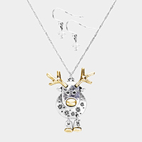 Two Tone Rudolph Metal Pendant Necklace