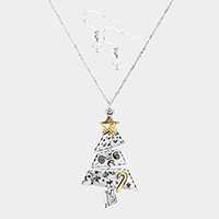 Two Tone Christmas Tree Metal Pendant Necklace