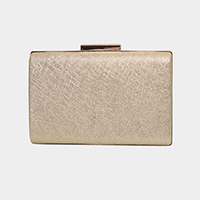 Shimmery Faux Leather Clasp Crossbody Clutch Bag