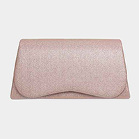 Shimmery Trapezoid Clasp Crossbody Clutch Bag