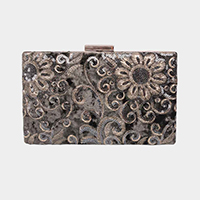 Floral Embroidery Beads Velvet Clasp Crossbody Clutch Bag