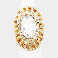 Oval Crystal Embellished Stretchable Ring
