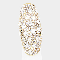 Crystal Embellished Oval Stretchable Ring