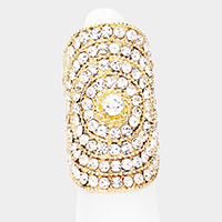 Curved Crystal Embellished Oval Stretchable Ring