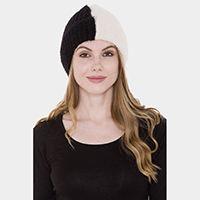 Color-Blocked Cable Knit Hat