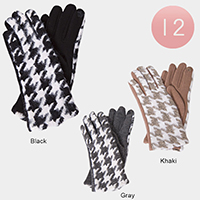 12 PCS Hounds Tooth Soft Ladies Smart Touch Gloves