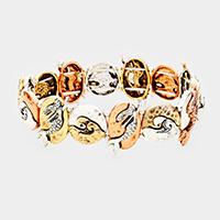 Mermaid Wave Metal Disc Stretch Bracelet