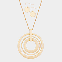 Open Brushed Metallic Circle Pendant Long Necklace