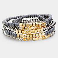 5PCS Multi Metal Glass Beaded Stretch Bracelets
