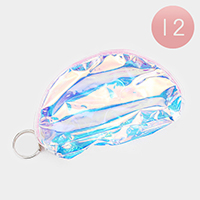 12PCS - Transparent Zip Keychain Purses