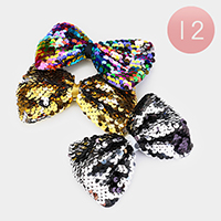 12PCS - Sequin Bring Bow Hair Clips