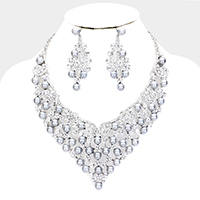 Pearl Crystal Cluster Evening Necklace