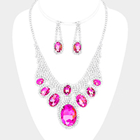 Crystal Rhinestone Clustered Bubble Necklace