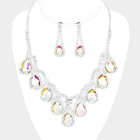 Crystal Teardrop Rhinestone Pave Statement Evening Necklace