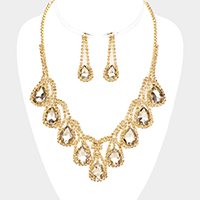 Draped Crystal Teardrop Statement Evening Necklace