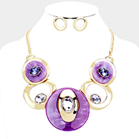 Celluloid Acetate Glass Stone Metal Link Statement Necklace