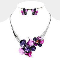Crystal Oval Stone Floral Metal Necklace