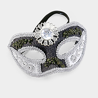 Round Crystal Floral Masquerade Half Mask