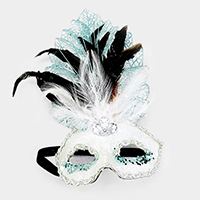 Halloween Feather Sequin Masquerade Mask