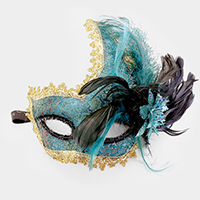 Feather Floral Halloween Masquerade Half Mask