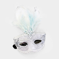 Halloween Crystal Pearl Feather Masquerade Mask