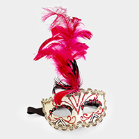 Feather Crystal  Halloween Masquerade Half Mask