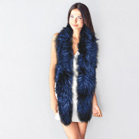 Long Faux Furry Layover Scarf