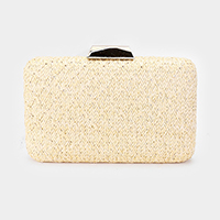 Woven Straw Metal Chain Strap Clutch Bag
