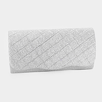Checkered Shimmery Crystal Rhinestone Pave Evening Clutch Bag