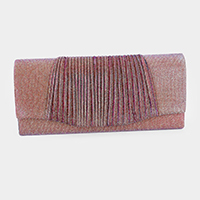Pleated Glitter Evening Clutch