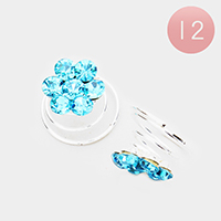 12PCS - Mini Crystal Rhinestone Daisy Spiral Hair Pins