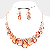 Crystal Teardrop Vine Statement Evening Necklace