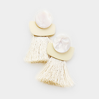 Abstract Celluloid Acetate Disc Tassel Earrings