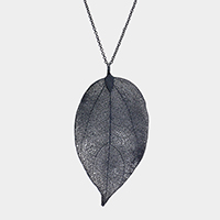 Filigree Natural Leaf Pendant Long Necklace