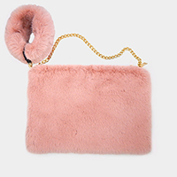 Faux Fur Round Key Chain Crossbody Bag