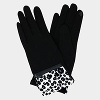Leopard Pattern Cuff Detail Smart Touch Gloves