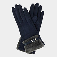Buckle Detail Fur Cuff Faux Suede Smart Touch Gloves
