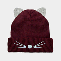 Crystal Embellished Cat Ear Beanie Hat