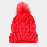 Soft Cable Knit Faux Fur Pom pom Beanie Hat