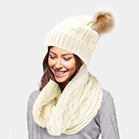 2PCS Cable Knit Infinity Scarf Pom Pom Beanie Hat Set