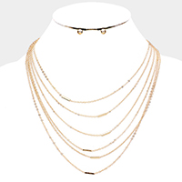 Multi Layered Metal Bar Chain Necklace