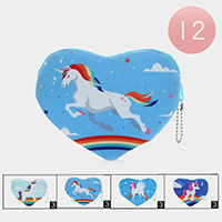 12PCS - Unicorn Heart Zip Coin Purse
