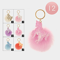 12PCS - Glitter Unicorn Faux Pom Pom Key Chains