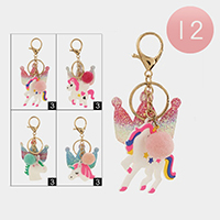 12PCS - Glitter Crown Unicorn Faux Pom Pom Key Chains