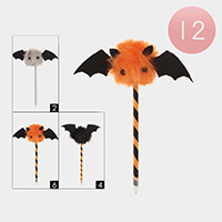 12 PCS - Halloween Bat Assorted Pens