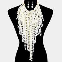 Cluster Pearl Chunky Tassel Statement Necklace